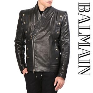 👁 Balmain •snap-button• Moto Biker Leather Jacket